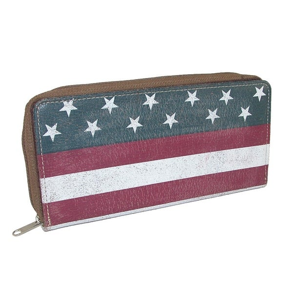 Roper Women's Leather American Flag Long Bifold Wallet - One size