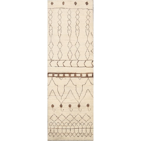 """Tribal Moroccan Oriental Runner Rug Wool Hand-knotted Carpet - 2'1"""" x 5'9"""""""