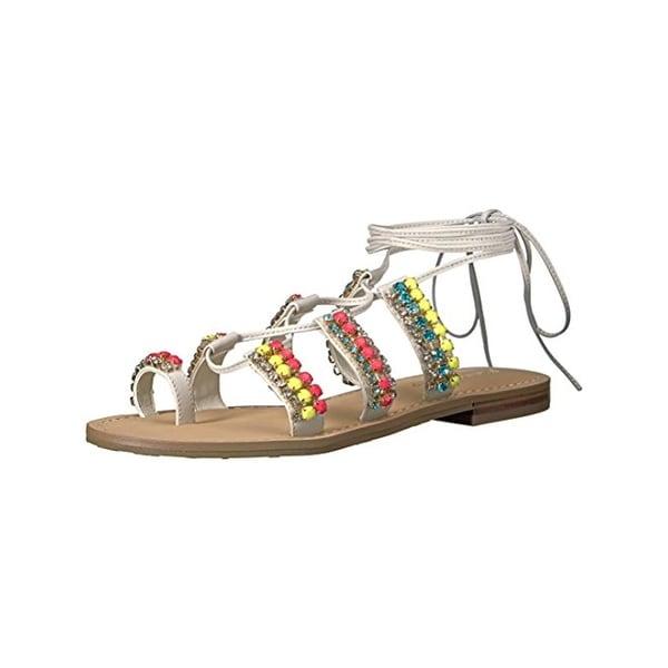 Ivanka Trump Womens Monday Flat Sandals Leather Embellished