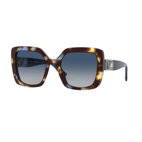 Valentino VA4065 50684L 53 Havana Brown Blue Woman Square Sunglasses
