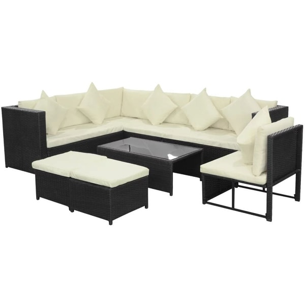 vidaXL 8 Piece Garden Lounge Set with Cushions Poly Rattan