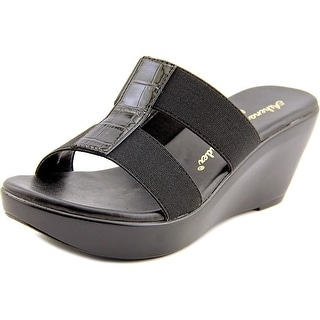 Callisto Ali Women Open Toe Canvas Black Wedge Sandal