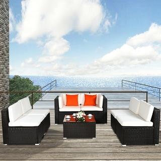 7 pcs Patio Rattan Furniture Set Sectional Sofa Cushioned