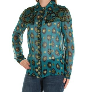 ANNE KLEIN $149 Womens New 1458 Teal Printed Collared Cuffed Button Up Top M B+B