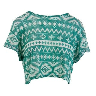 One Clothing Womens Juniors Crop Top Knit Printed