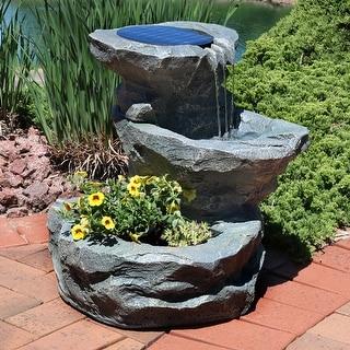 Sunnydaze Solar Garden Backyard Outdoor Water Fountain with Planter - 19-Inch - Grey|Grey