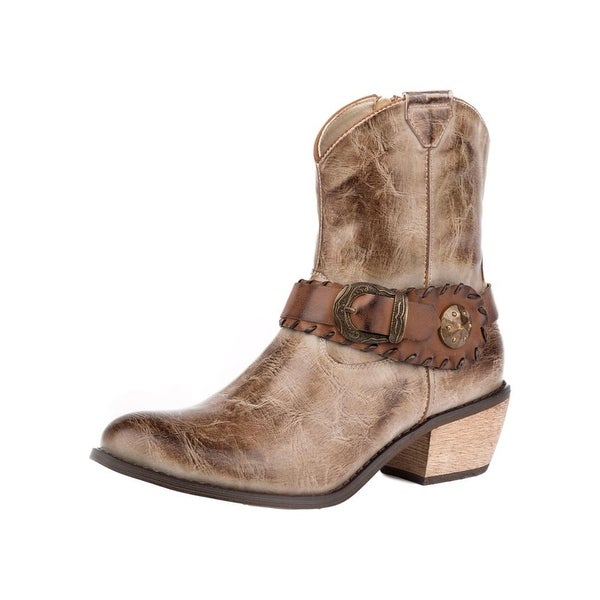 Roper Western Boots Womens Mae Shorty Leather Tan