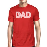 Dad Fish Mens Red Round T-Shirt Fathers Day Gift For Fishing Lovers