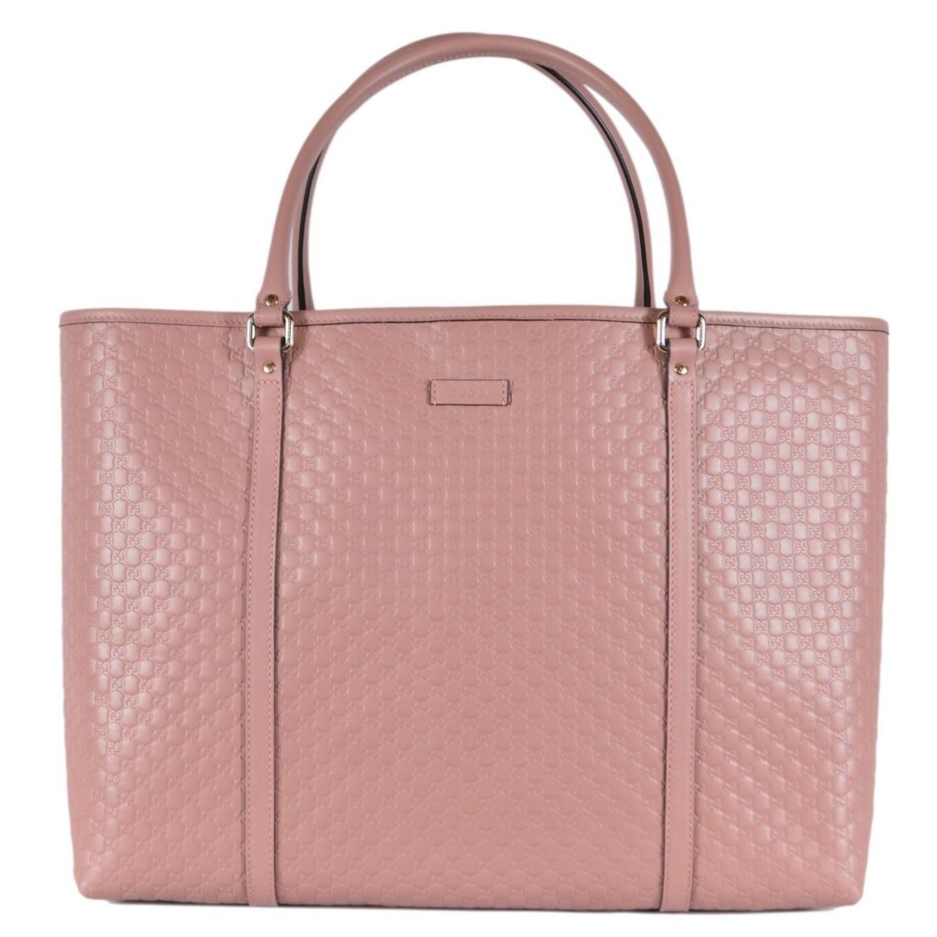 Gucci 449648 Large Pink Leather Micro Gg Guccissima Joy Bag Tote Purse