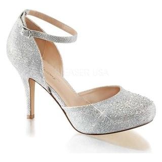 Fabulicious Women's Covet 03 Ankle Strap Pump Silver Glitter Mesh Fabric