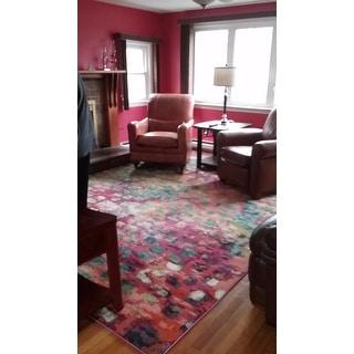Safavieh Monaco Abstract Watercolor Pink/ Multi Distressed Rug (9' x 12')