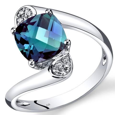 14 Karat White Gold Created Alexandrite Diamond Ring 2.58 Carats