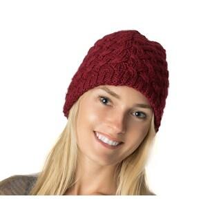 Winter Basket Weave Knit Beanie Hat