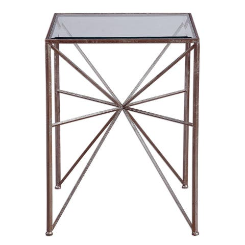 """Uttermost 24631 Silvana 25"""" x 19"""" End Table - Silver Leaf"""