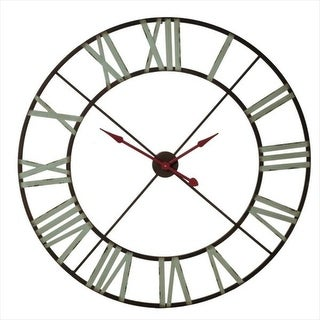 "48"" Aqua and Crimson Distressed Vintage-Style Roman Numeral Wall Clock"