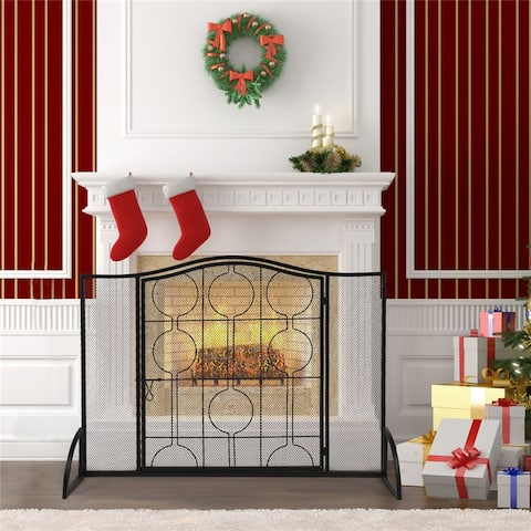 Curved Top Thin Line Round Decorative Iron Fireplace Screen