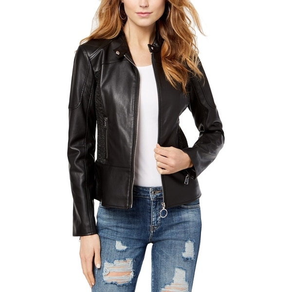 0d6a95ea Shop Guess Womens Delaney Motorcycle Jacket Faux Leather Day to Night - xs  - Free Shipping Today - Overstock - 25751300