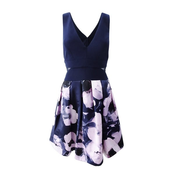 023cf205 Shop Xscape Women's Floral-Print Fit & Flare Dress (10, Navy/Lilac) -  Navy/Lilac - 10 - On Sale - Free Shipping Today - Overstock - 25428518