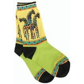 Giraffes - Yellow & Green - Laurel Burch Socks