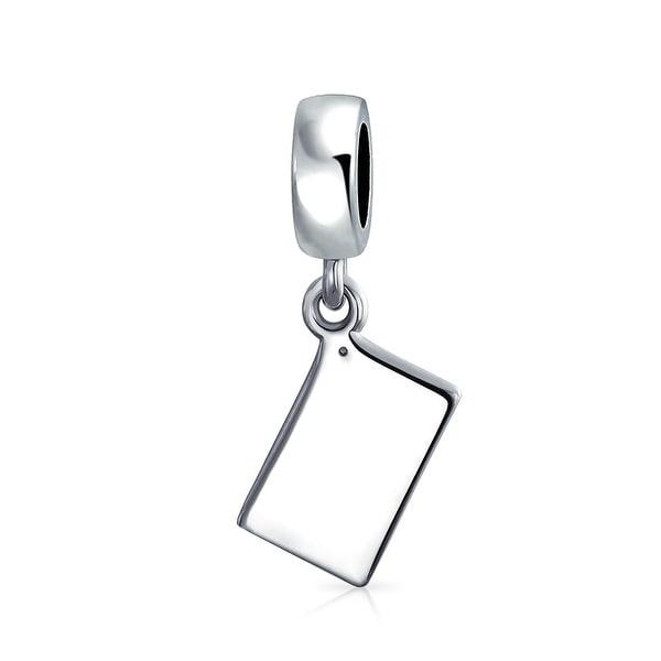 Sterling Silver Enamel Crystal Calculator Dangle Bead Charm