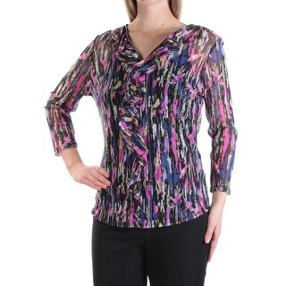 INC $64 Womens New 1209 Black Pink Printed Ruffled 2 Pc Long Sleeve Top M B+B