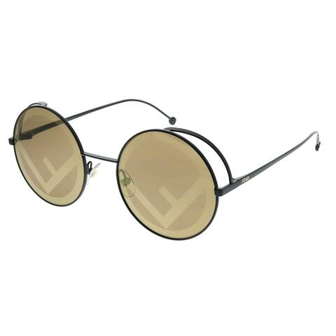 Fendi Fendirama FF 0343 807 EB Womens Black Frame Brown Gold Fendi Logo Lens Sunglasses