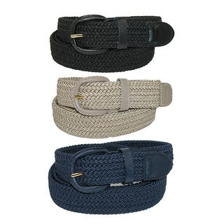 CTM® Men's Elastic Braided Stretch Belt (Pack of 3 Colors) (More options available)