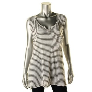 Free People Womens Linen Blend Striped Tunic Top