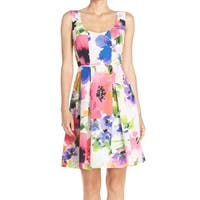 Adrianna Papell White Pink Womens 10 A-Line Pleated Floral Dress