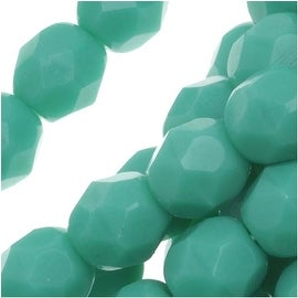 Czech Fire Polished Glass Beads 6mm Round Green Turquoise (25