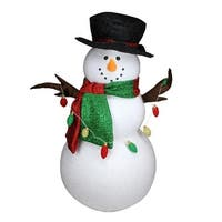 5' Musical Inflatable Snowman Christmas Decoration with LED Lights - green
