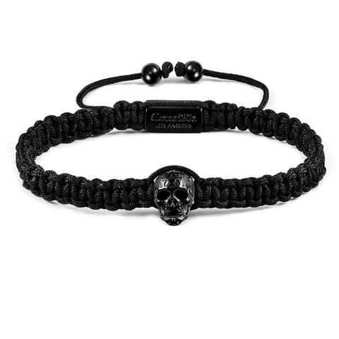 Antique Stainless Steel Skull Nylon Cord Adjustable Bracelet