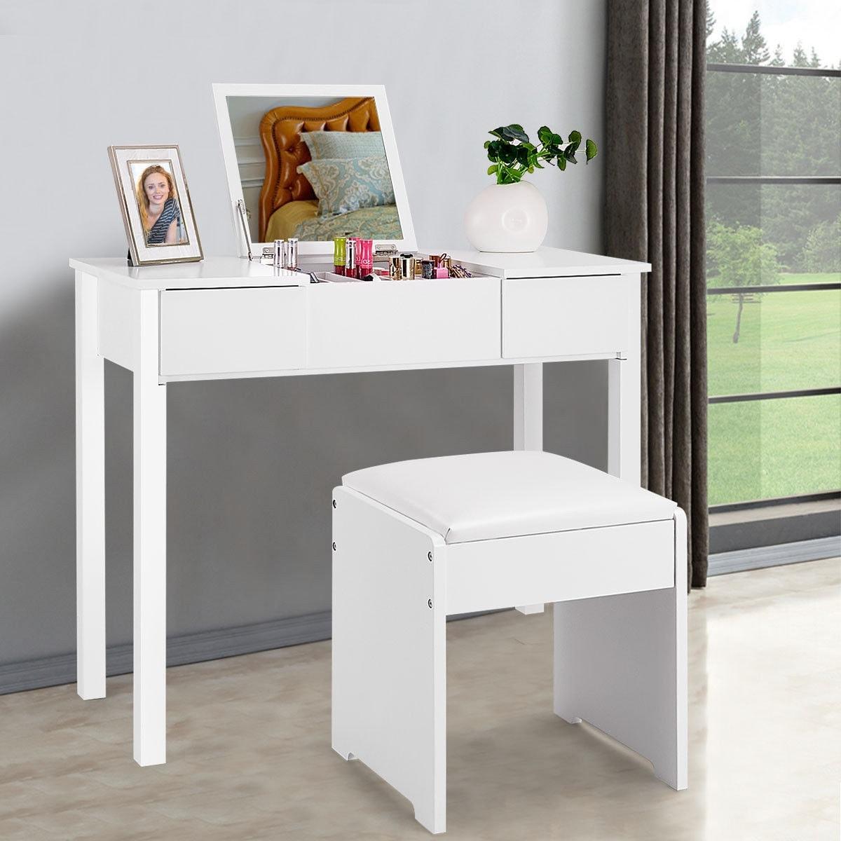 half off e5764 48616 Costway White Vanity Dressing Table Set Mirrored bathroom Furniture W/Stool  &Storage Box