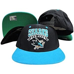 San Jose Sharks Black/Teal Script Plastic Snapback Adjustable Plastic Hat / Cap