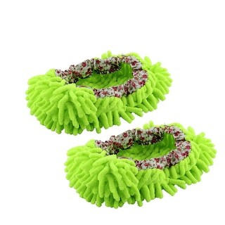 Pair House Floor Polishing Dusting Cleaning Foot Socks Shoes Mop Slippers Green