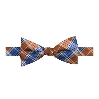 Countess Mara New Trad Plaid Adjustable Bow Tie Brown and Blue - One Size Fits most
