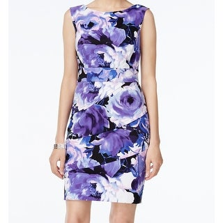 Connected Apparel NEW Purple Floral Printed Women Size 16 Tiered Dress