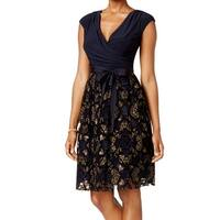 SLNY Blue Women's Size 4 Floral Textured Surplice Sheath Dress