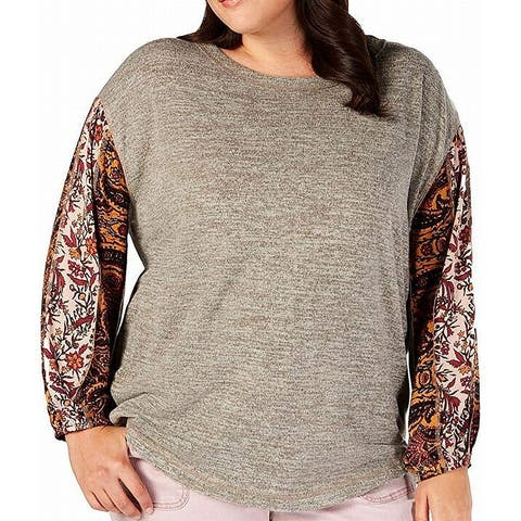 Style & Co. Womens Top Heather Gray Size 2X Plus Knit Printed Sleeve