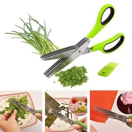 Durable 5 Blade Herb Scissors With Cleaning Comb