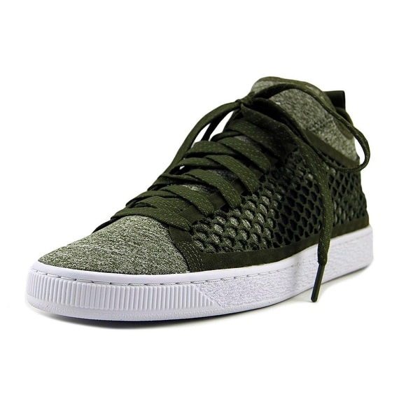 Puma Basket Classic Netfit Men Round Toe Canvas Green Basketball Shoe