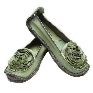 Women's Shoes - Roses Loafers - Full Grain Leather Flats (Option: Green)