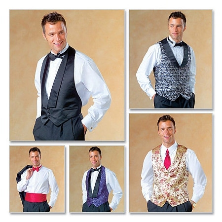 Men's Lined Vests, Bow Tie and Cummerbund-Z (XLG-XXL) -*SEWING PATTERN*