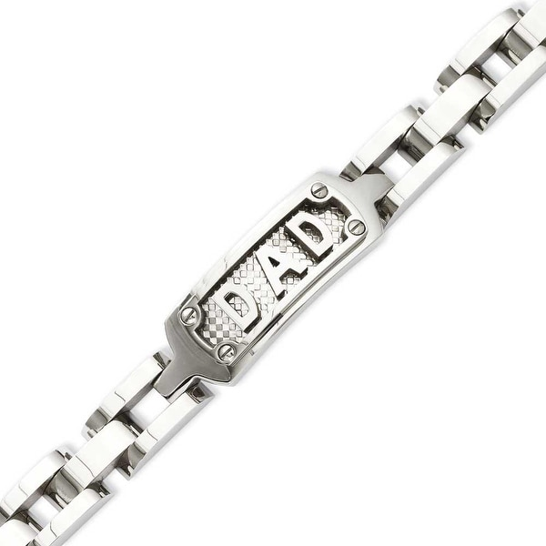 Stainless Steel Polished & Textured 8.5in Dad Bracelet