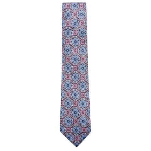 Tasso Elba Mens Medallion Self-tied Necktie, blue, One Size - One Size