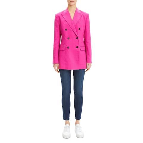 Theory Womens Jacket Linen Tailored - Pop Fuchsia - 10