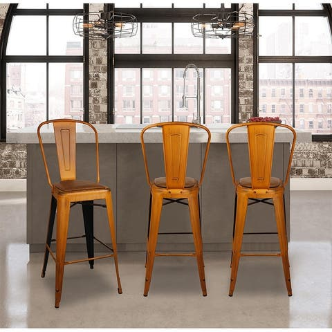 "GIA 30"" High Back Metal Barstool with Black/Brown Leather Cushion-1 Pcs"