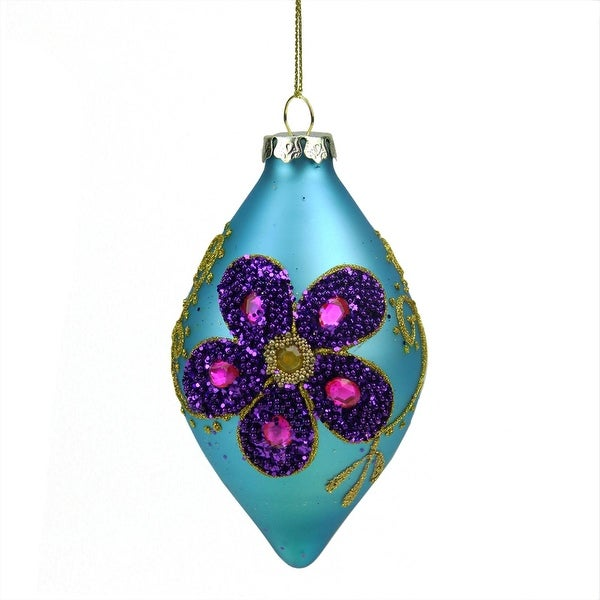 "4.75"" Matte Turquoise Blue Glass Finial Christmas Ornament with Purple Flower Designs"