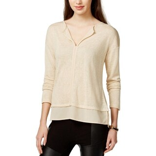 Sanctuary Womens Hanna Pullover Top Knit Split Collar