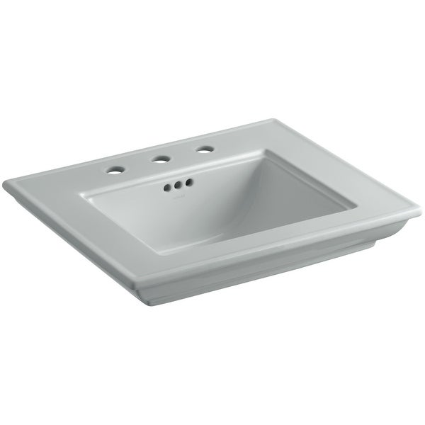 "Kohler K-2345-8 Memoirs Stately 24-1/2"" Fireclay Pedestal Bathroom Sink with 3 Holes Drilled and Overflow"